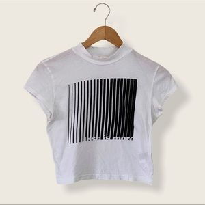 White Mock Neck Cropped Graphic Tee